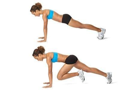 woman knee plank