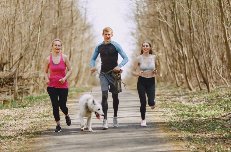 women man running