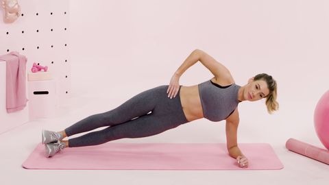 woman side plank exercise