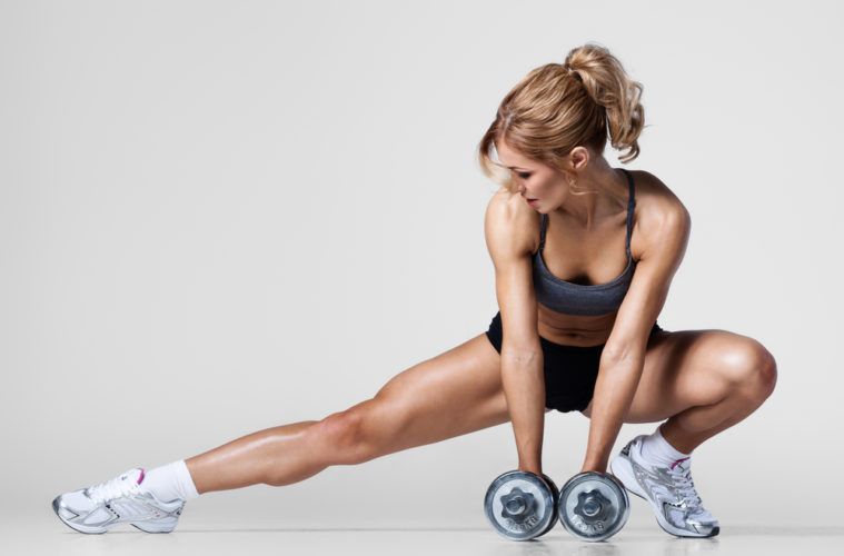 woman exercise dumbells