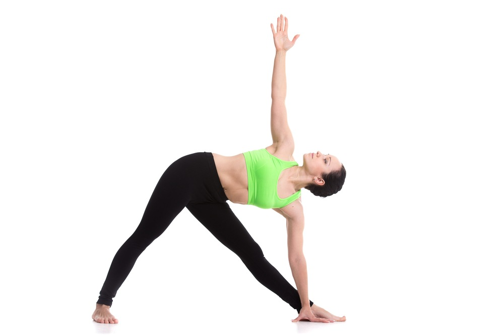 woman triangle pose